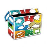 Comic Book Cardboard Storage Box with Comic Strip Artwork, holds 150-175 Comics